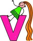 Letter V girl Stock Image