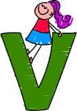 Letter V girl Stock Photography