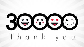 Thank you 30000 followers numbers. Congratulating black and white networking thanks, net friends image in two 2 colors, customers 30 000 likes, % percent off stock illustration