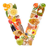 Letter V made of food Stock Photography