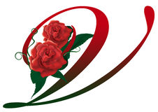 Letter V red floral  illustration. Red rose decorated letter V font , colorful and Royalty Free Stock Photos