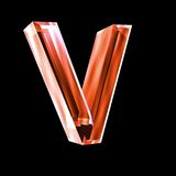 Letter V in red glass 3D Stock Photography