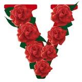 Letter V red roses  illustration Stock Photo
