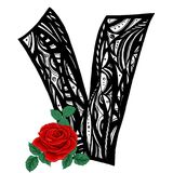 Letter V and Rose, beauty and fashion logo. Black and white pattern with scarlet roses. hand drawn vector illustration Stock Images