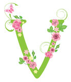 Letter V with roses Royalty Free Stock Photos