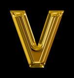 Letter V rounded shiny golden isolated on black. Background Stock Images