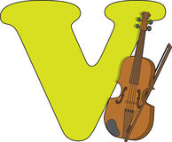Letter V with a Violin Royalty Free Stock Image