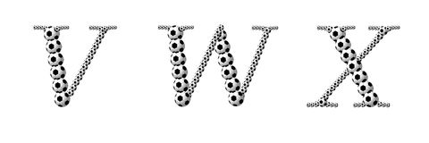 Letter V, W, X from footballs Stock Photography