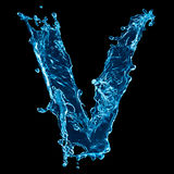 Letter V water splash Royalty Free Stock Images