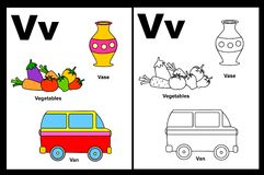 Letter V worksheet. Alphabet letter V with colorful cliparts and coloring graphics children worksheet royalty free illustration
