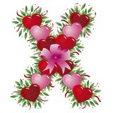 Letter X - Valentine letter. Letter X - with heart, bow, ribbon and leaf - Alphabet vector illustration