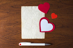 A letter on Valentine's day. Beautiful background for Valentine's day stock image