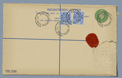 Letter (Vector). An antique registered letter complete with stamps Stock Photo