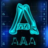 A Letter Vector. Capital Digit. Roentgen X-ray Font Light Sign. Medical Radiology Neon Scan Effect. Alphabet. 3D Blue. Light Digit With Bone. Medical vector illustration