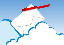 Letter. Vector illustration of a letter in clouds Stock Photos