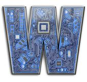 Letter W. Alphabet in circuit board style. Digital hi-tech letter isolated on white stock illustration