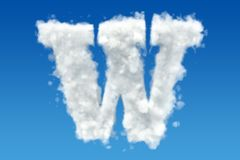 Letter W, alphabet from clouds in the sky. 3D rendering Royalty Free Stock Images