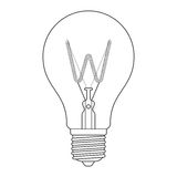 The letter W, in the alphabet Incandescent light bulb set. Outline style black and white color isolated on white background Stock Photo