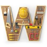 Letter W. Alphabet from the tools on the metal pegboard isolated Stock Photo