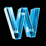 Letter W in blue glass 3D Stock Photo