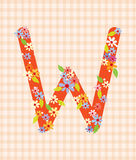 The letter W Bright floral element of colorful alphabet in  Royalty Free Stock Photography
