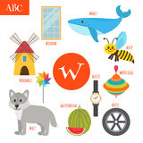 Letter W. Cartoon alphabet for children. Watermelon, whale, wolf. Letter W. Cartoon alphabet for children. Vector illustration Stock Photo