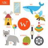 Letter W. Cartoon alphabet for children. Watermelon, whale, wolf Stock Photo