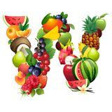 Letter W composed of different fruits with leaves Stock Photos