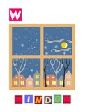 Letter W. Cute cartoon english alphabet with colorful image and word. Royalty Free Stock Image