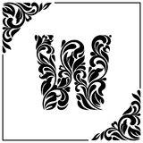 The letter W. Decorative Font with swirls and floral elements. Vintage style.  Stock Image