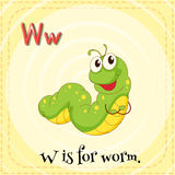 Letter W. Flashcard letter W is for worm stock illustration