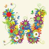 Letter W, floral design. Stock Photo