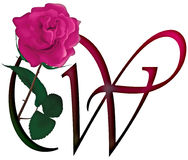 Letter W Floral FONT Royalty Free Stock Photography