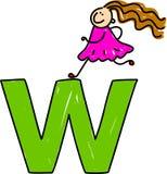 Letter W girl. Happy little girl climbing over giant letter W - toddler art series Royalty Free Stock Images