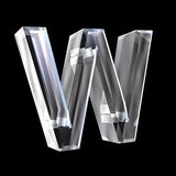 Letter W in glass 3D Royalty Free Stock Photos
