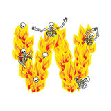Letter W hellish flames and sinners font. Fiery lettering. Infer. Nal fire alphabet sign. ABC devilish flame of Death Satanic and skeleton Royalty Free Stock Photo