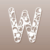 Letter W for laser cutting. English alphabet. Stock Image