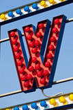 Letter W in lights Stock Photography