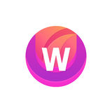 Letter W logo abstract circle shape element. Vector round compan Stock Image
