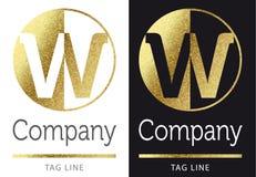 Letter W logo. Golden bright letter W logo royalty free illustration