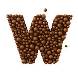 Letter W made of chocolate bubbles, milk chocolate concept, 3d illustration.  stock illustration