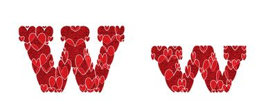Letter W, made from hearts. Letter W, uppercase and lowercase of alphabet made from hearts Royalty Free Stock Images