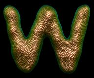 Letter W made of natural gold snake skin texture isolated on black. Letter W made of natural gold snake skin texture isolated on black 3d rendering vector illustration