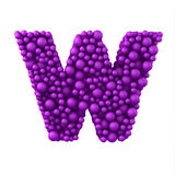 Letter W made of plastic beads, purple bubbles, isolated on white, 3d render Stock Image