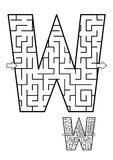 Letter W maze game for kids. Alphabet learning fun and educational activity for kids - letter W maze game. Answer included stock illustration