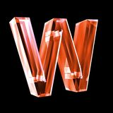 Letter W in red glass 3D Stock Photo