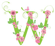 Letter W with roses Royalty Free Stock Photos