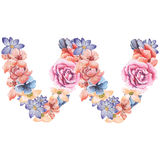 Letter W of watercolor flowers, isolated hand drawn on a white background, wedding design, english alphabet.  Stock Images