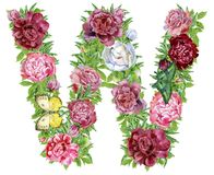 Letter W of watercolor flowers. Isolated hand drawn on a white background, wedding design, english alphabet royalty free illustration