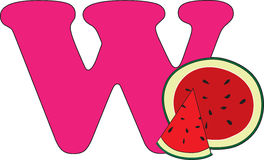 Letter W with a Watermelon Royalty Free Stock Photos